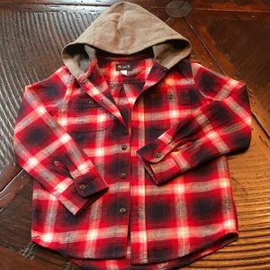 Boys Flannel shirt with hoodie